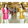 秋装新款韩版V领纯色口袋修身针织开衫气质外套女长袖