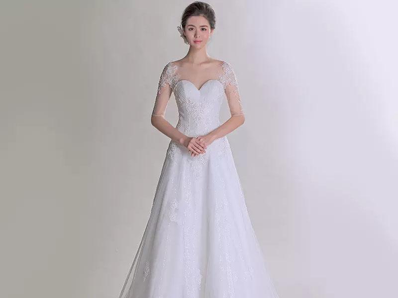 【花盛芳年】2015春季新款蕾丝包肩修身显瘦拖尾婚纱401501241