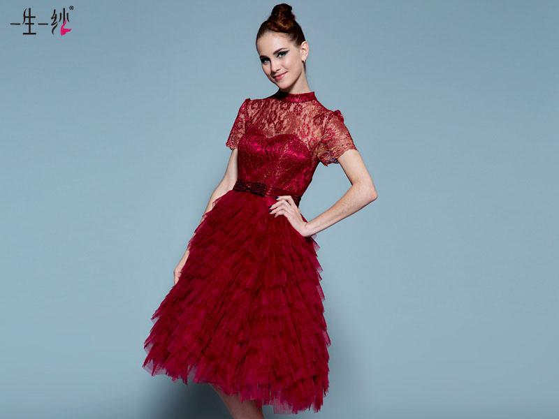 一生一纱2015新短款结婚礼服 夏 高腰红色孕妇敬酒小礼服 免费试穿送到家 20220677