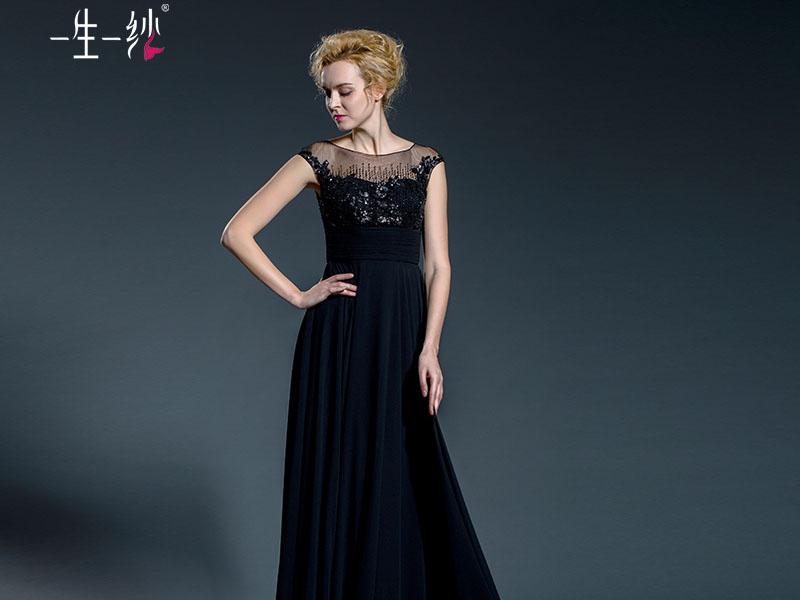 一生一纱晚礼服 长款 主持人 女 黑色晚宴礼服 圆领一字肩 502411448