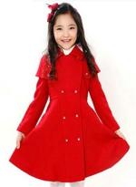 奈丝菲尔女童装2015秋冬装新款毛呢大衣加厚英伦风红色上衣长外套
