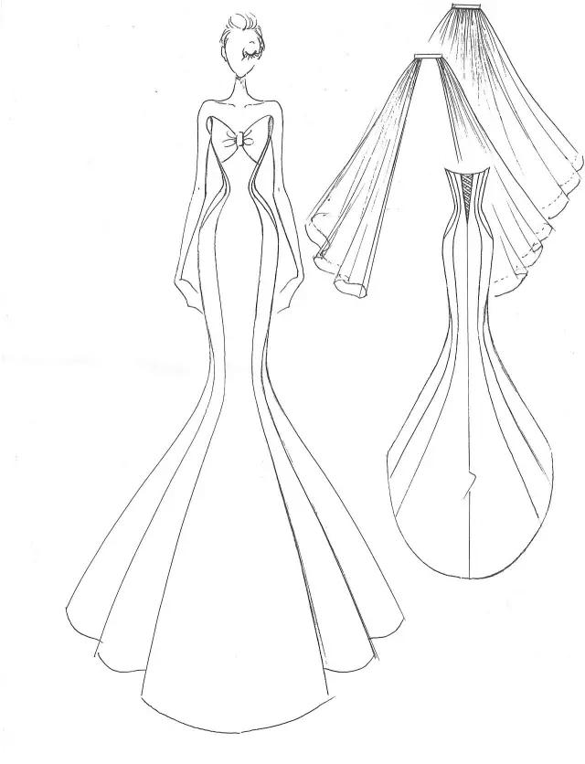 唯美婚纱简笔画步骤